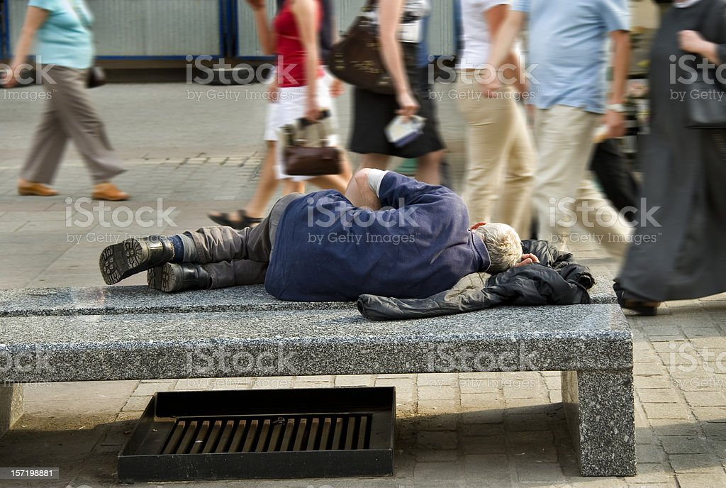 Old homeless man stock photo