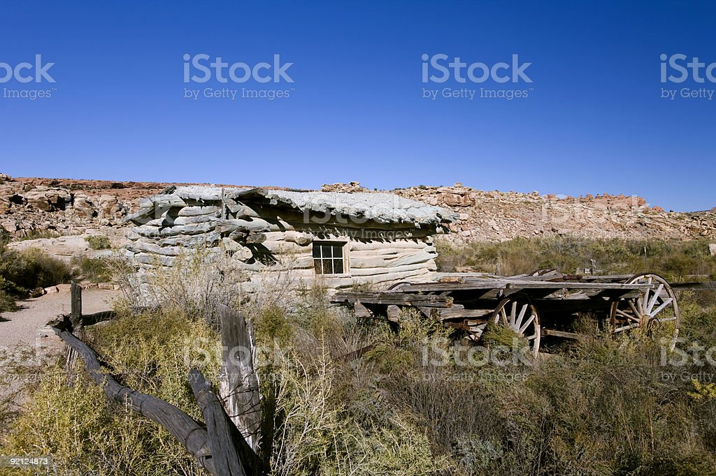 Old homestead and wagon found in Arches National Park Utah stock photo