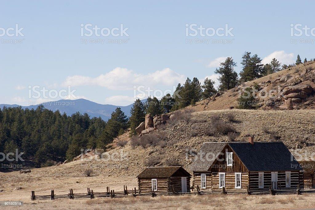 Old homestead in Colorado stock photo