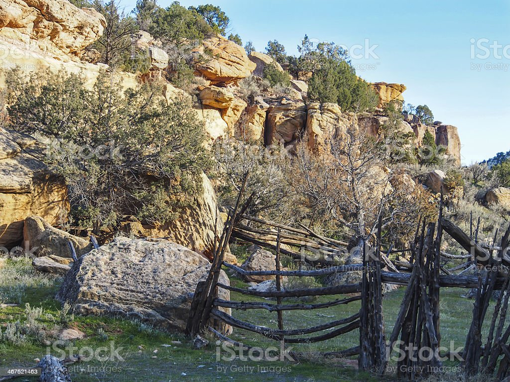 Old Homesteader's Corrals in Dinosaur National Monument stock photo