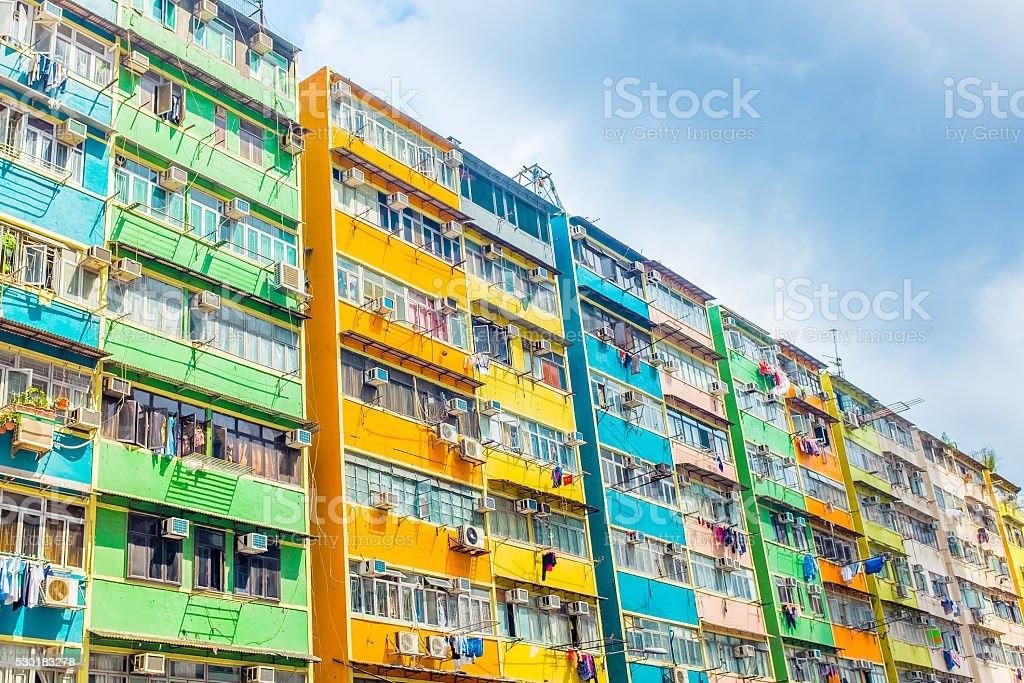 Old Hong Kong Residential stock photo