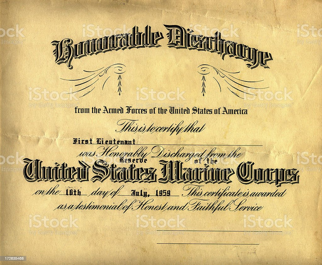 old honorable discharge certificate stock photo