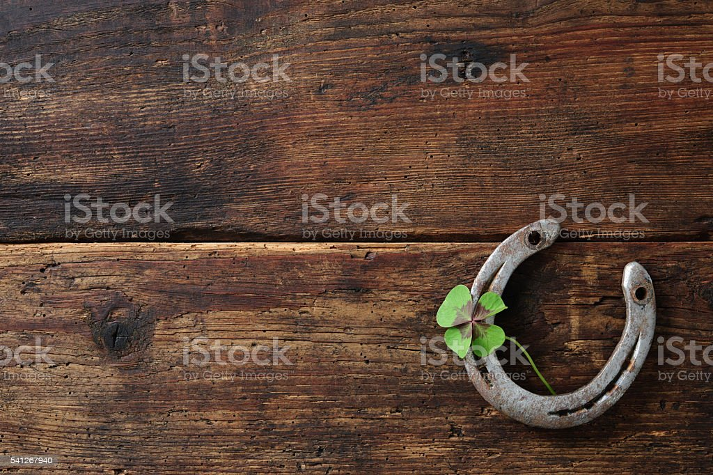 Old horse shoe,with clover leaf stock photo