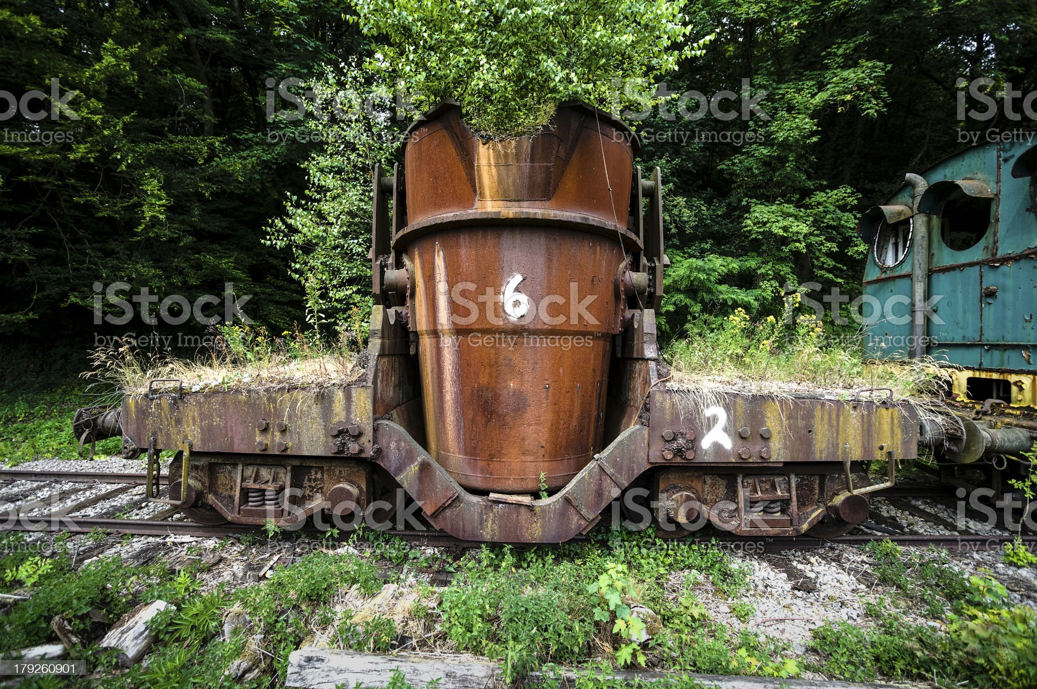 Old hot metal ladle car royalty-free stock photo