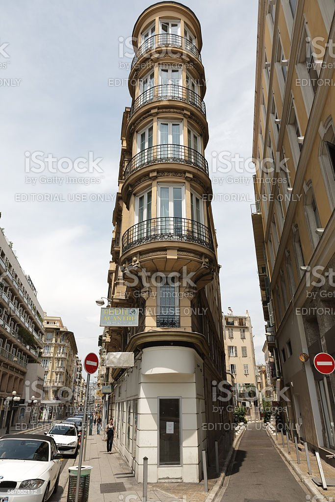 Old hotel with interesting architecture in Nice in France stock photo