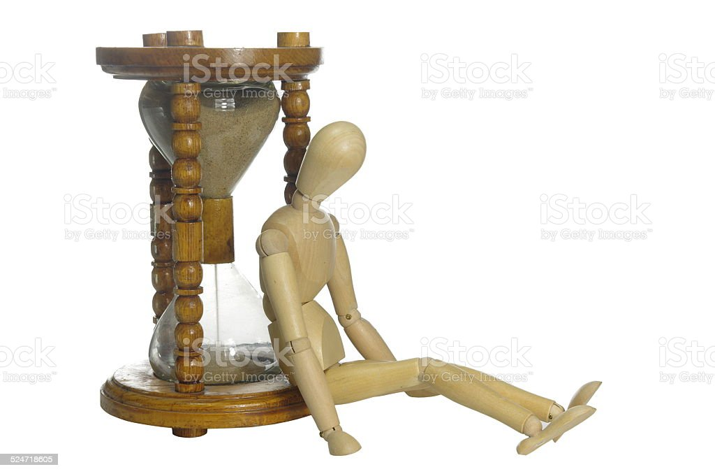 old  hourglass and dummy stock photo