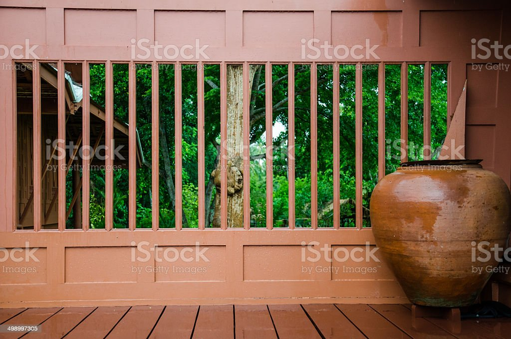 Old House and jar ,in thai houses royalty-free stock photo