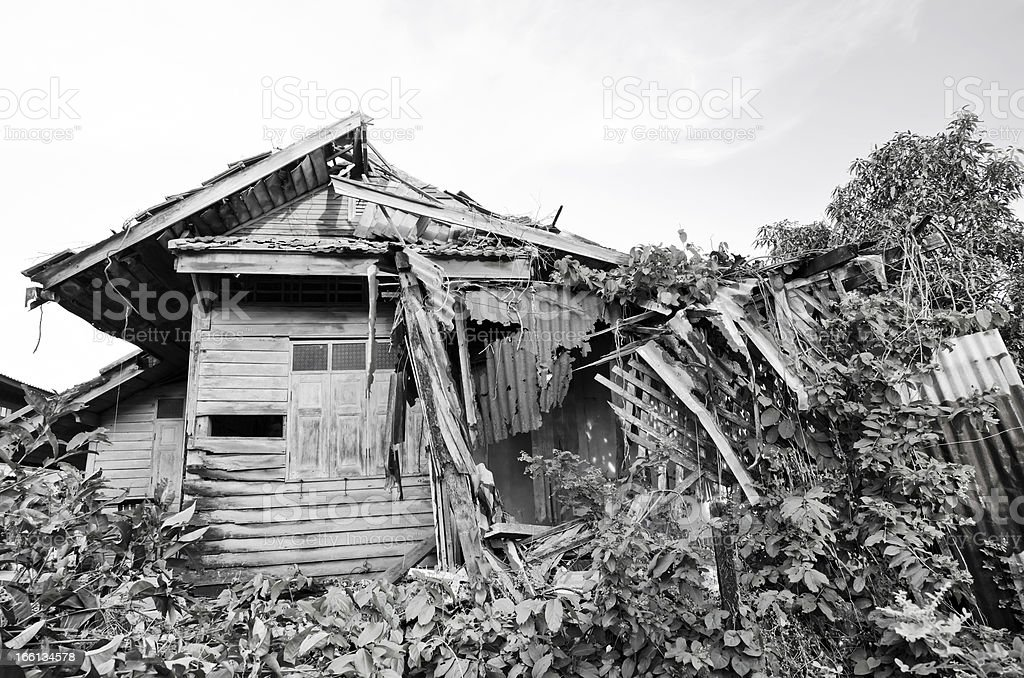 Old house collapsing from time. royalty-free stock photo