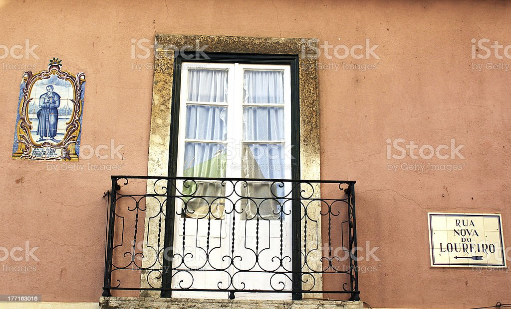 Old house facade in Lisbon royalty-free stock photo