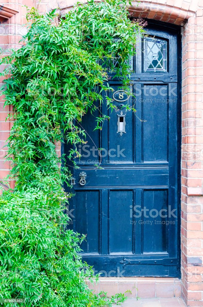 Old house front door in England, UK stock photo