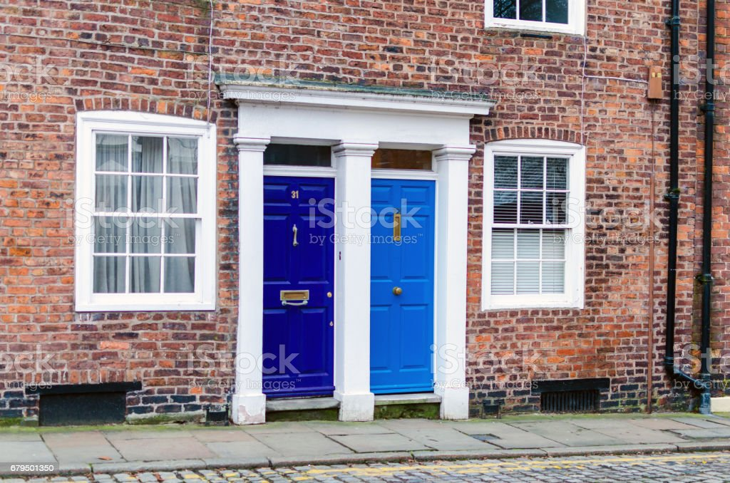 Old house front doors in England, UK stock photo