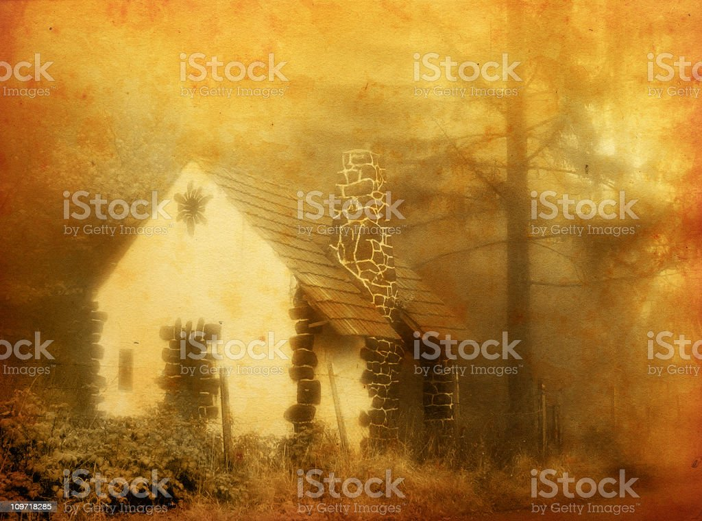 Old House in Foggy Forest royalty-free stock photo