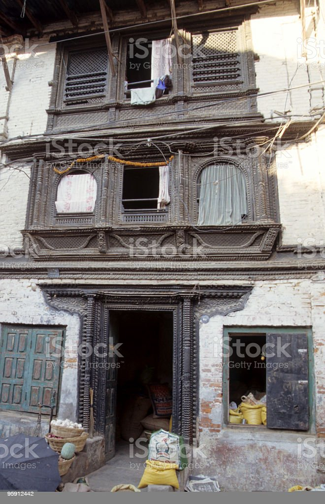 Old house in Nepal stock photo