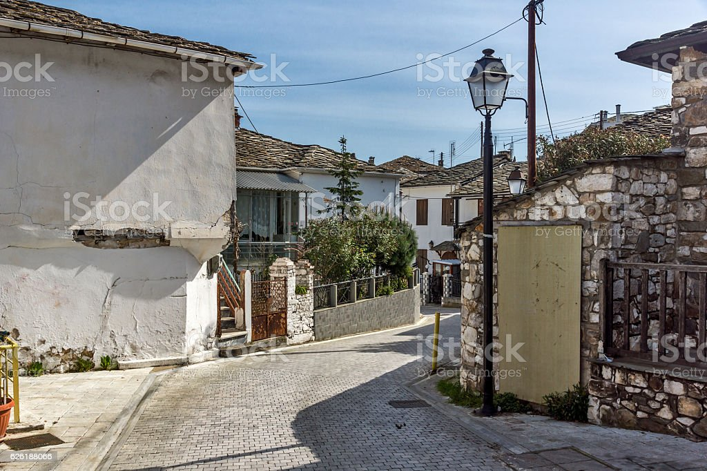 Old house in village of Panagia, Thassos island, Greece stock photo