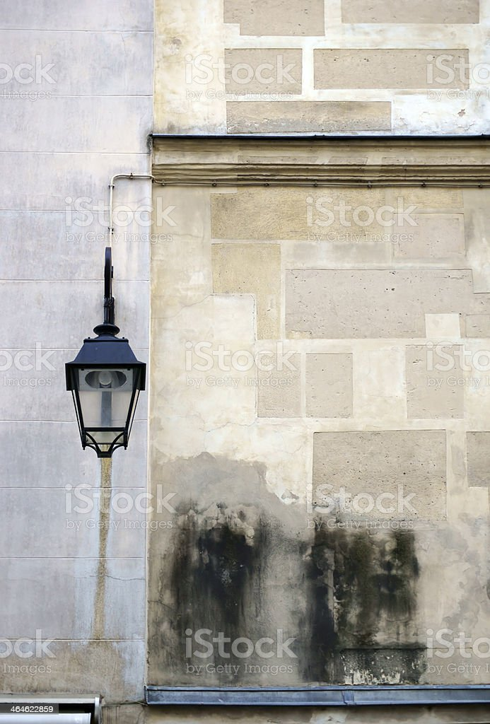 Old house wall with lantern royalty-free stock photo