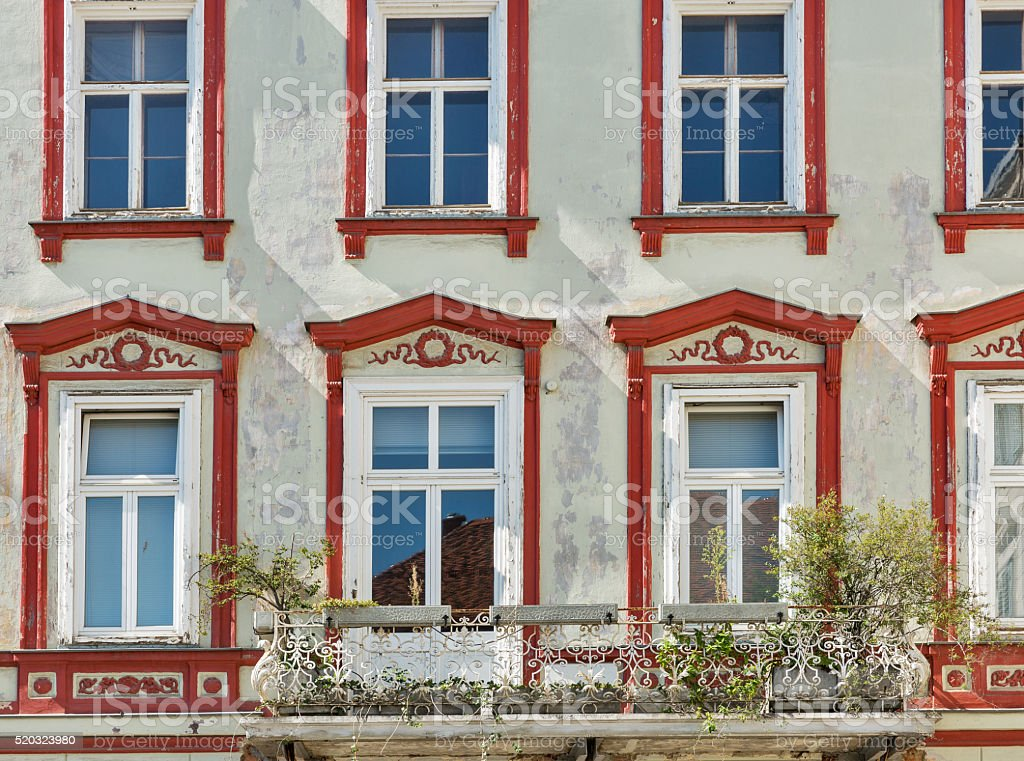 Old house with beautiful windows in downtown Graz, Austria. stock photo
