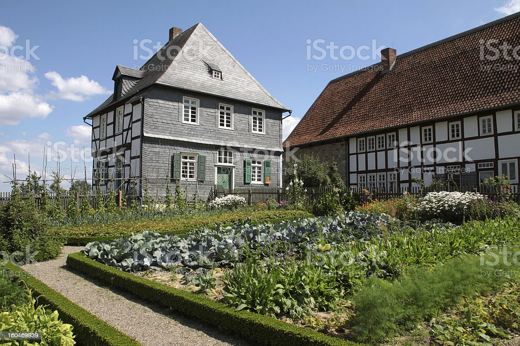 Old house with garden stock photo