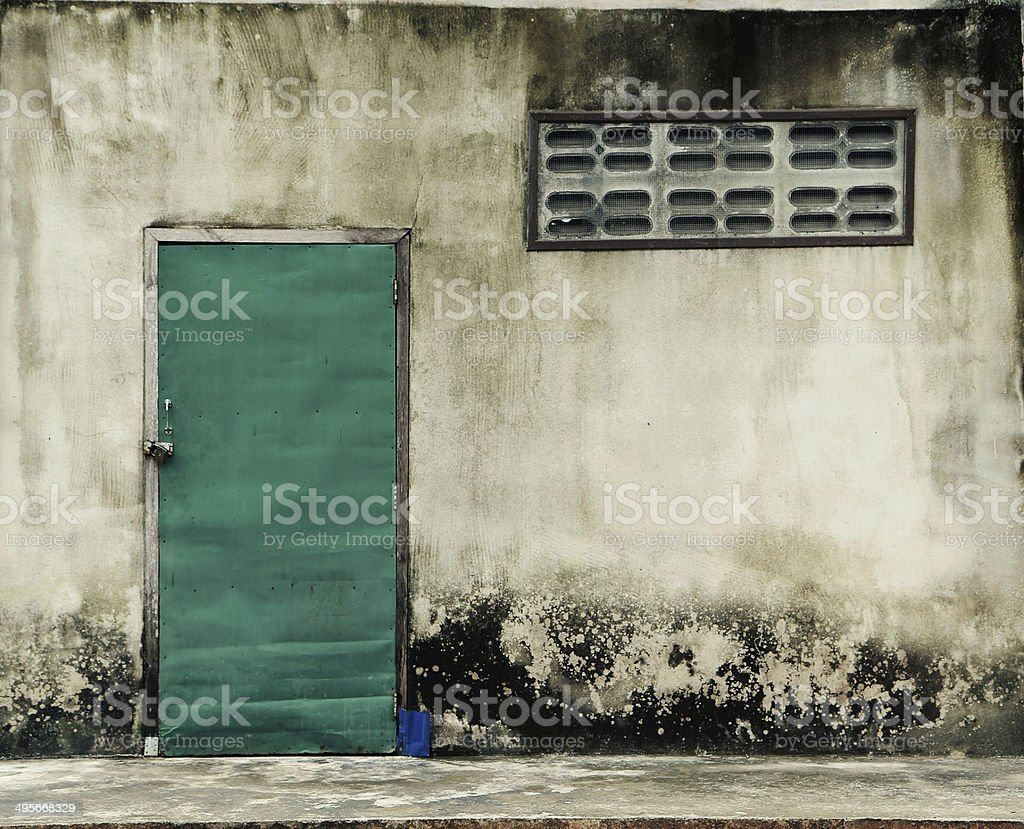old house with green door royalty-free stock photo