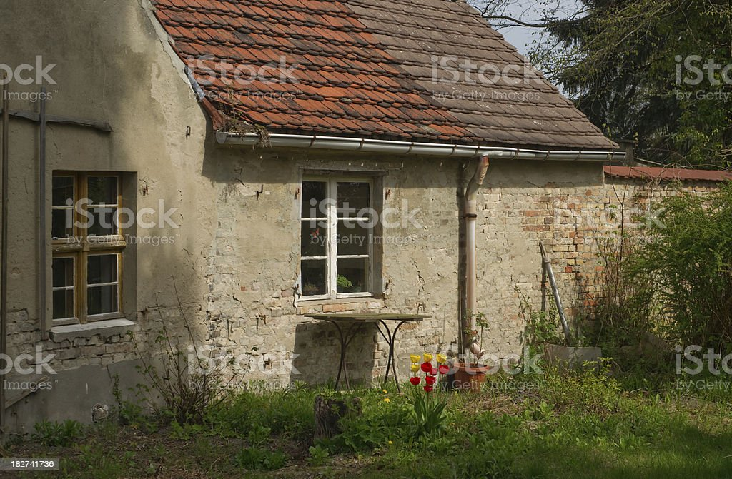 Old house with tulips stock photo