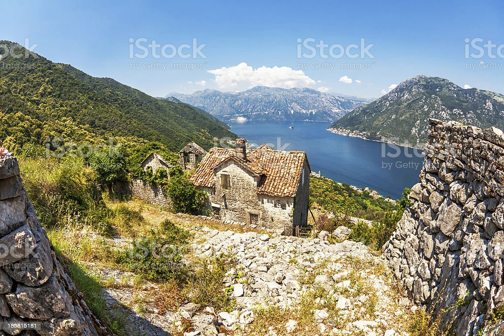 old house with view on the sea and mountains royalty-free stock photo