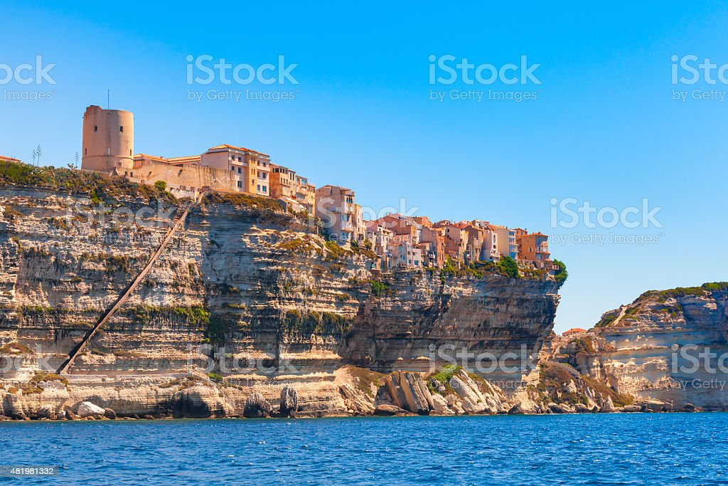 Old houses and fortress on the cliff. Bonifacio, Corsica stock photo