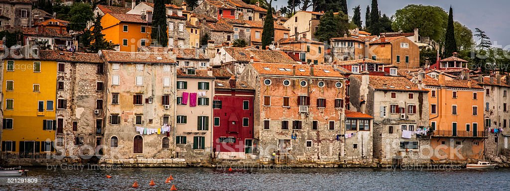 Old Houses and Sea in Rovinj stock photo