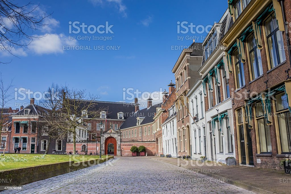 Old houses and the Prinsenhof at the Martinihof in Groningen stock photo