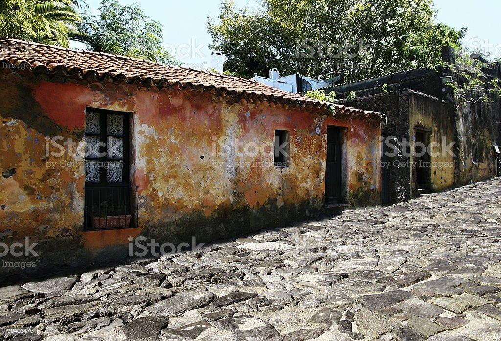 Old houses at Colonia, Uruguay stock photo