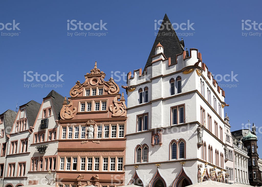 old houses at hauptmarkt, Trier stock photo