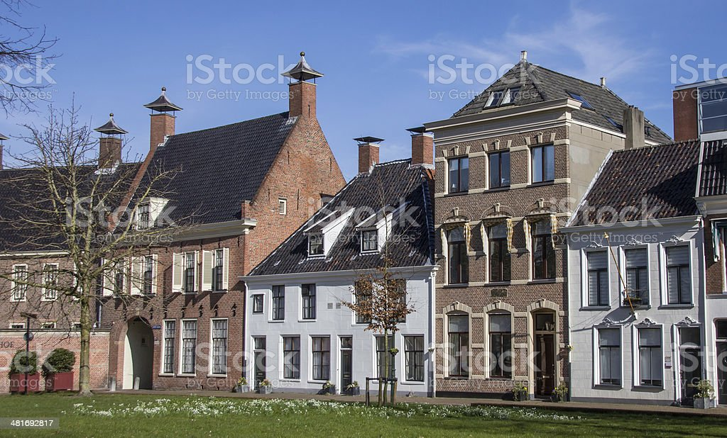 Old houses at the Martinihof in Groningen stock photo