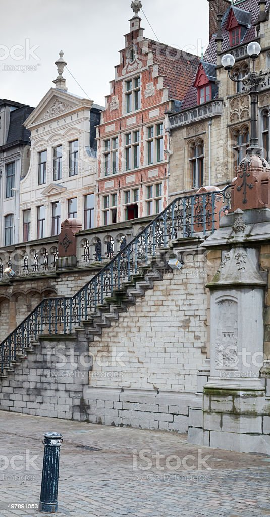 Old houses in a city, Ghent, Belgium stock photo