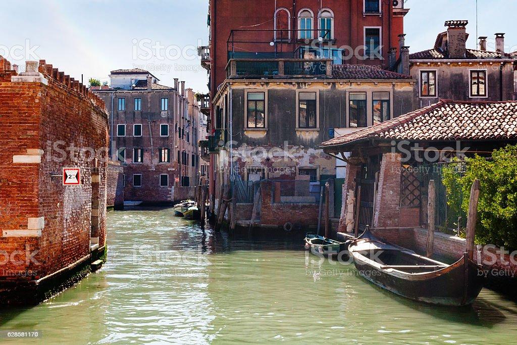 old houses in Cannaregio sestieri in Venice stock photo