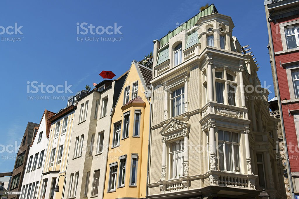 Old houses in downtown Aachen, Germany royalty-free stock photo