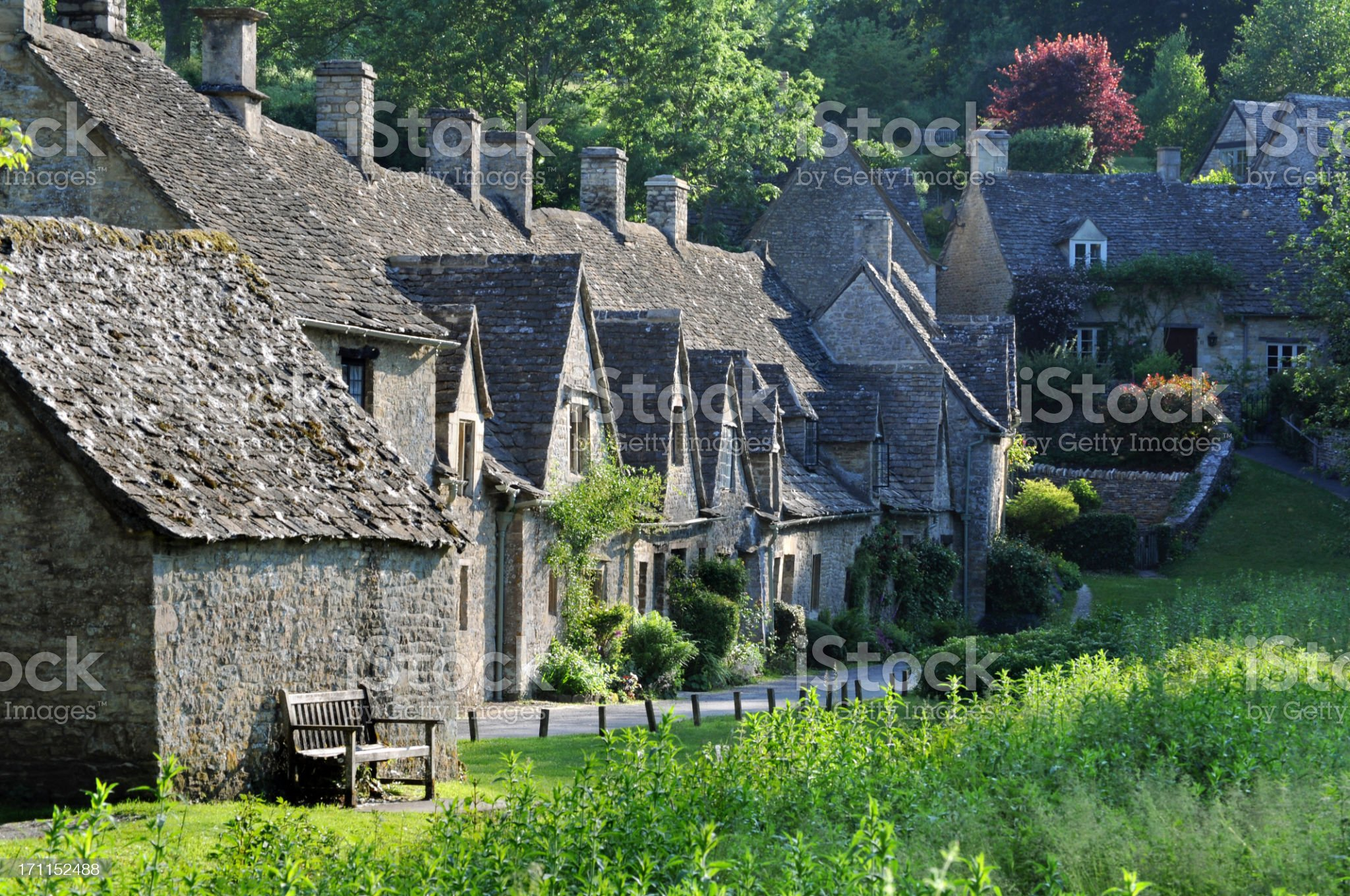 Old houses in English countryside of Cotswolds royalty-free stock photo