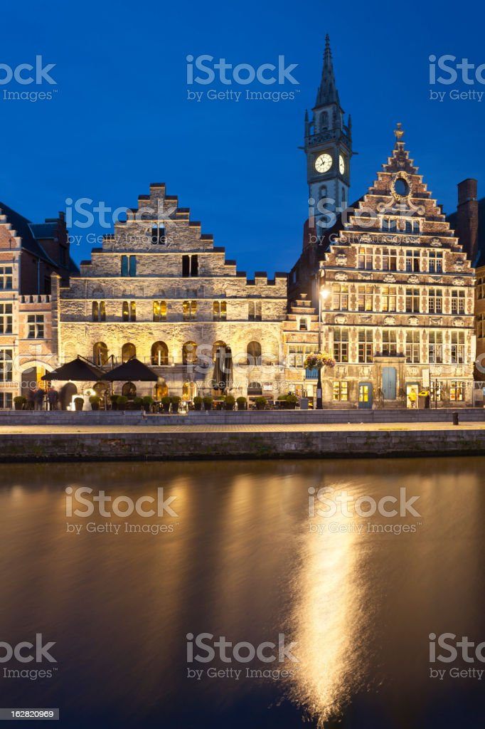 Old Houses In Ghent At Night royalty-free stock photo