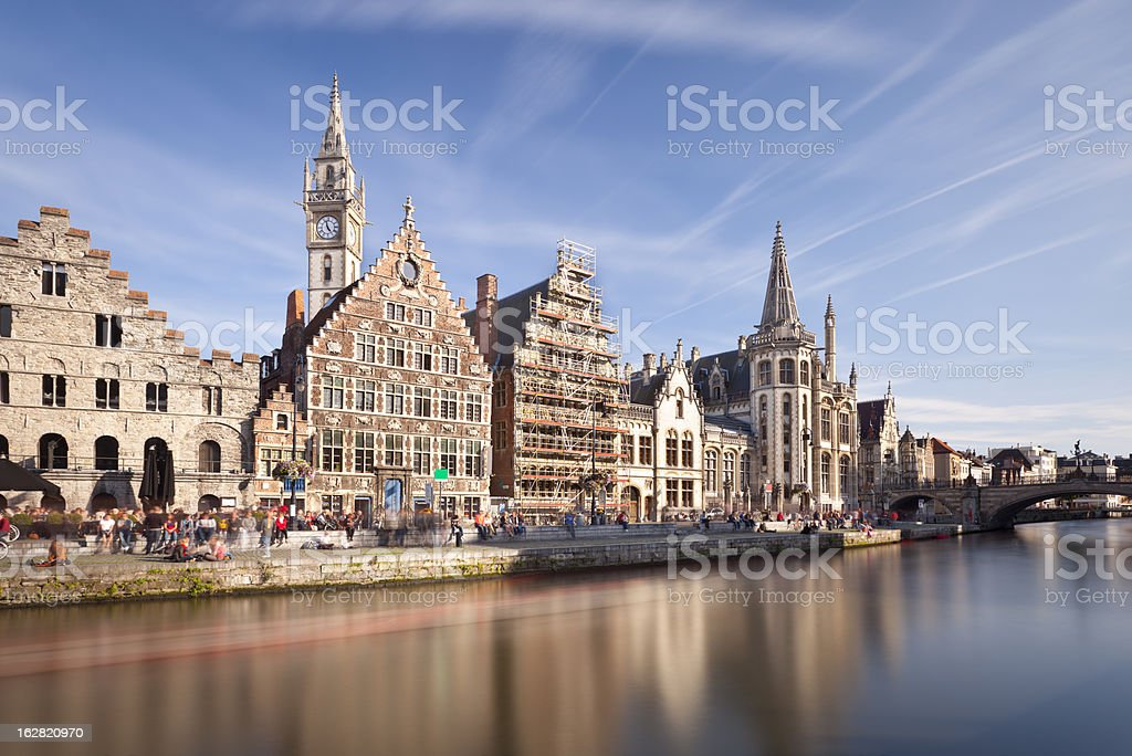 Old Houses In Ghent Long Exposure royalty-free stock photo