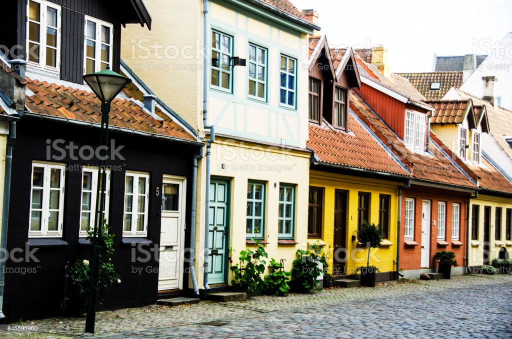 Old Houses in H.C.Andersen`s quarter in Denmark stock photo