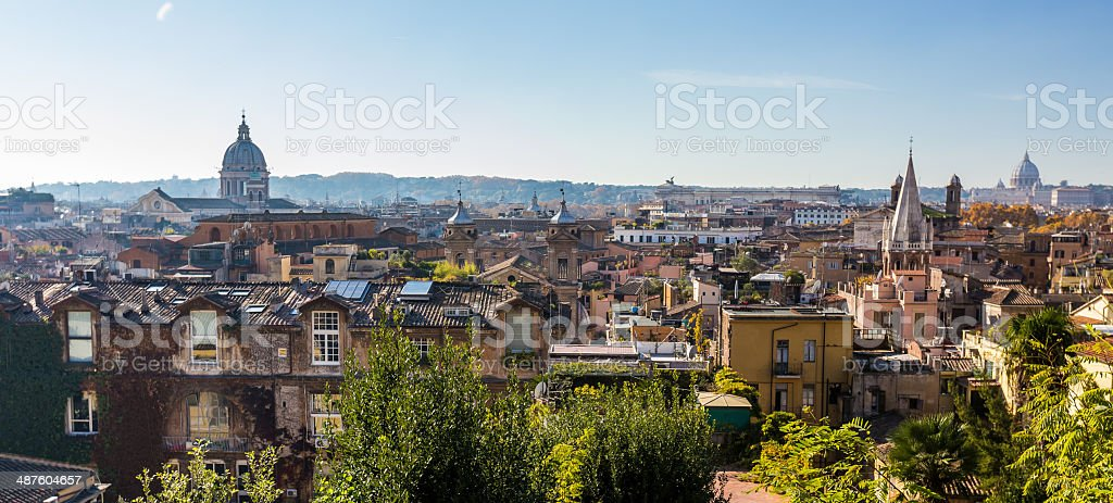 old houses in historical centre of Rome, Italy stock photo