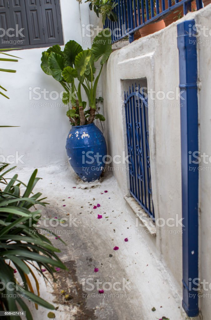 Old houses in Plaka, Athens stock photo