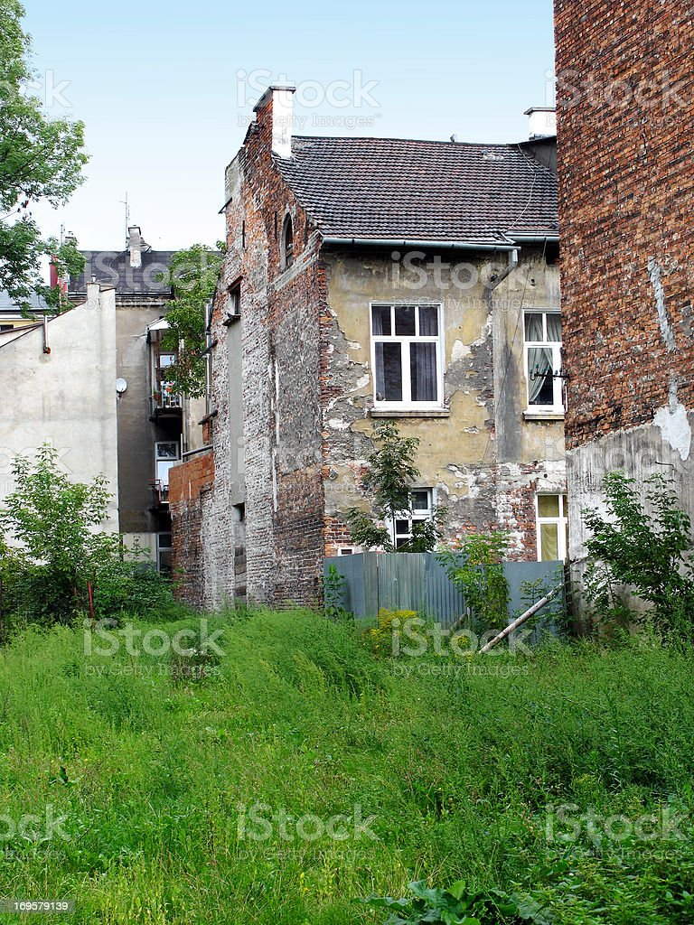Old houses in Poland in poor condition royalty-free stock photo