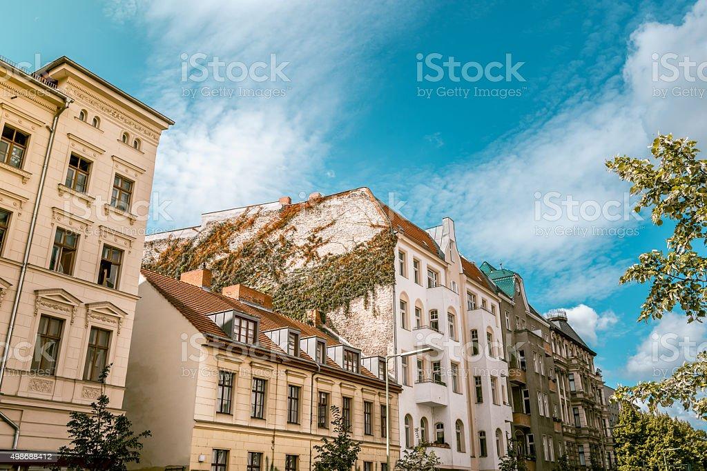 old houses in Schlesische Strasse in Berlin Kreuzberg in summer stock photo