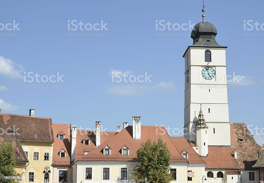 Old houses in Sibiu city royalty-free stock photo