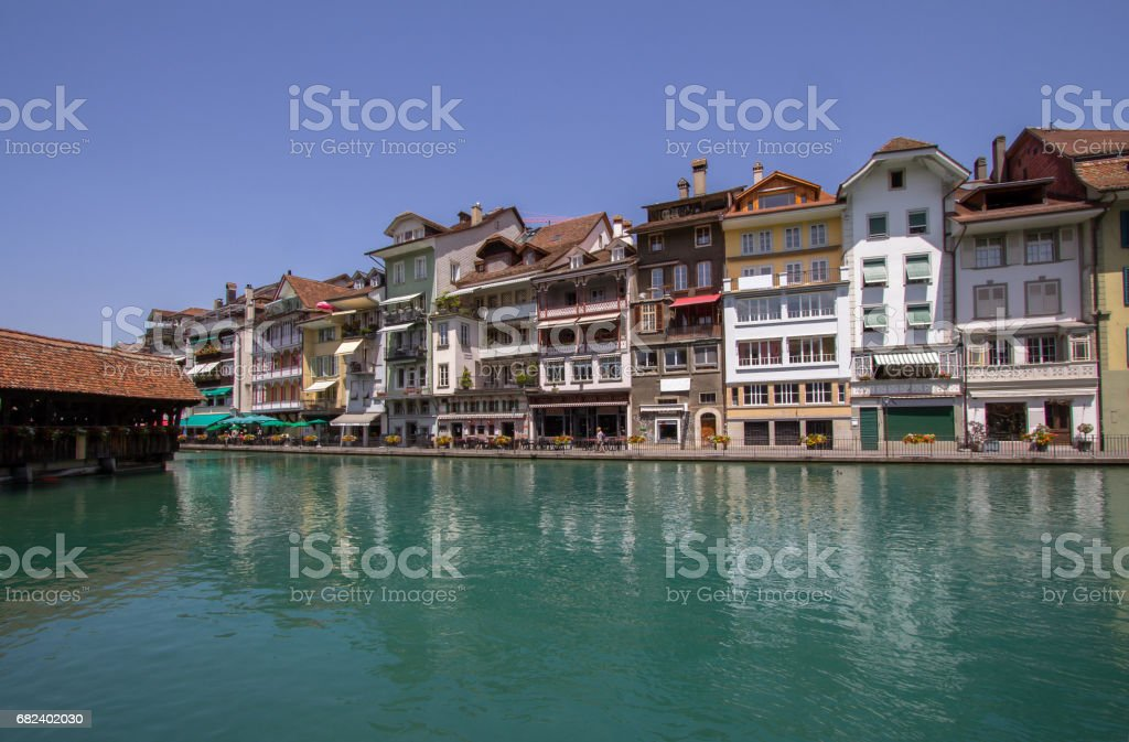 Old Houses in the Old Town of Thun in Switzerland stock photo