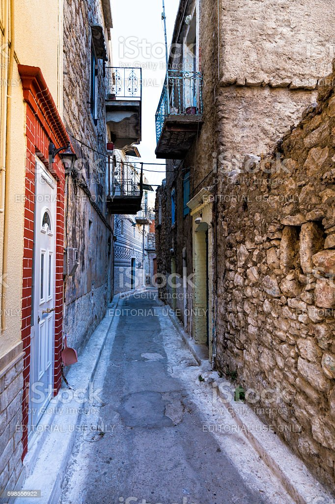 Old houses in the village of Pirgi in Chios Island stock photo