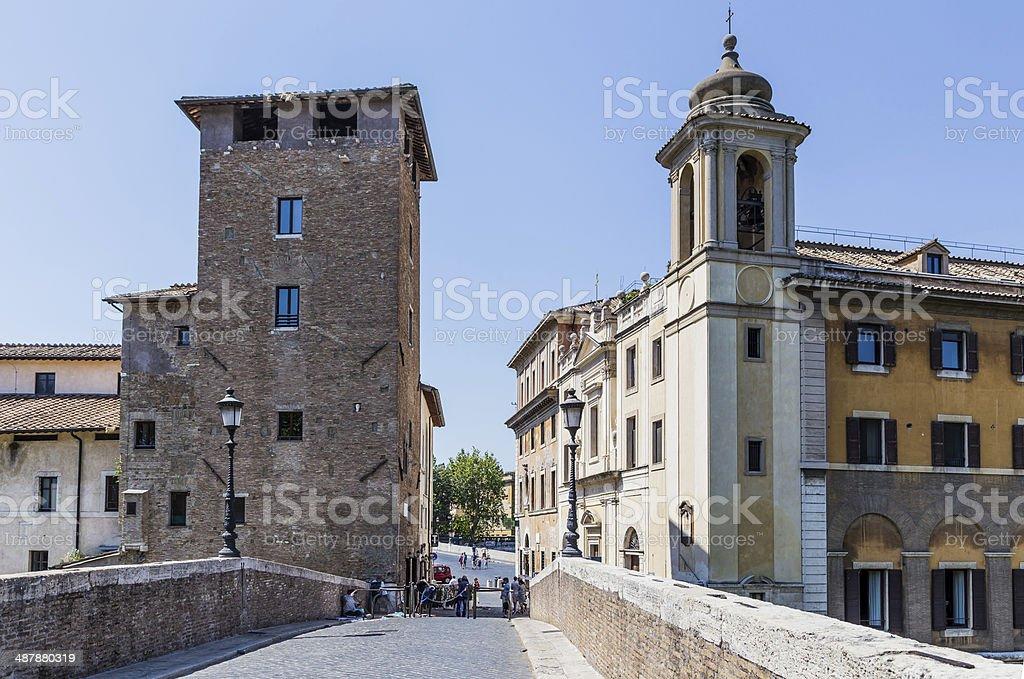 old houses in Trastevere, Rome, Italy stock photo