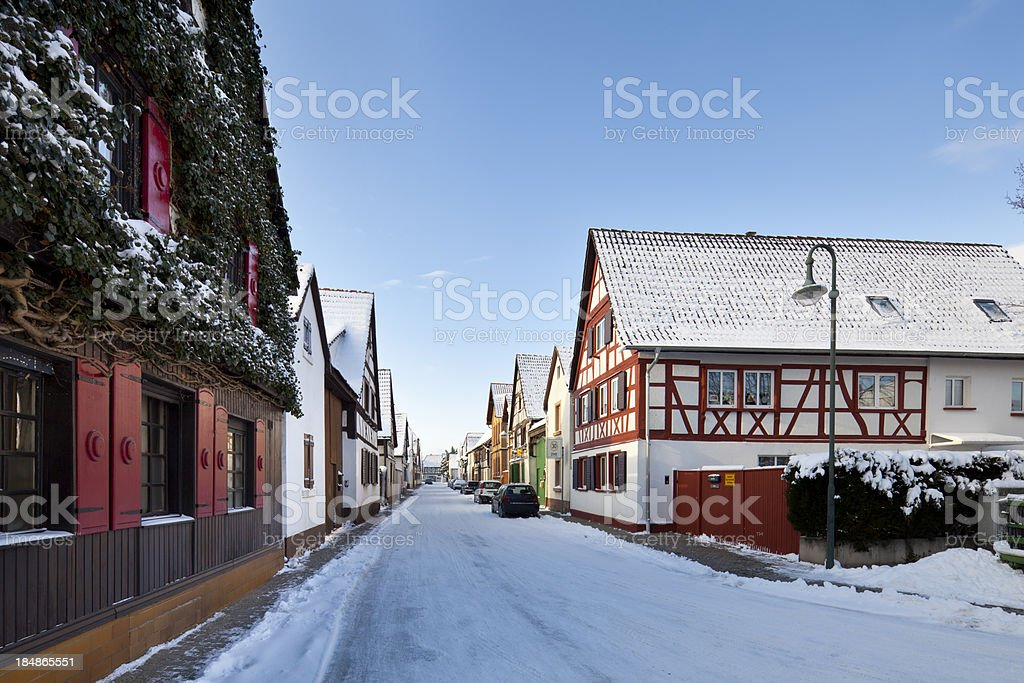Old Houses In Winter Village royalty-free stock photo