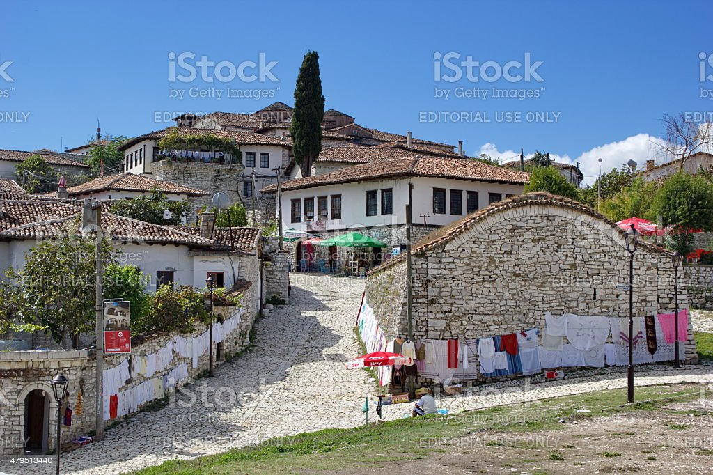 old houses inside the fortress in Berat, Albania stock photo