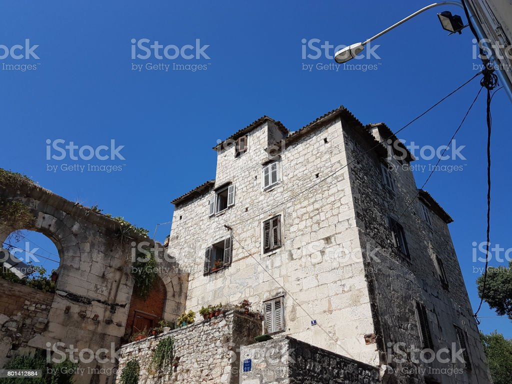 Old houses next to Diocletian's Palace, Split, Croatia stock photo
