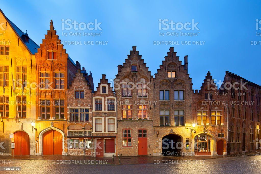 Old Houses Of Bruges At Night stock photo