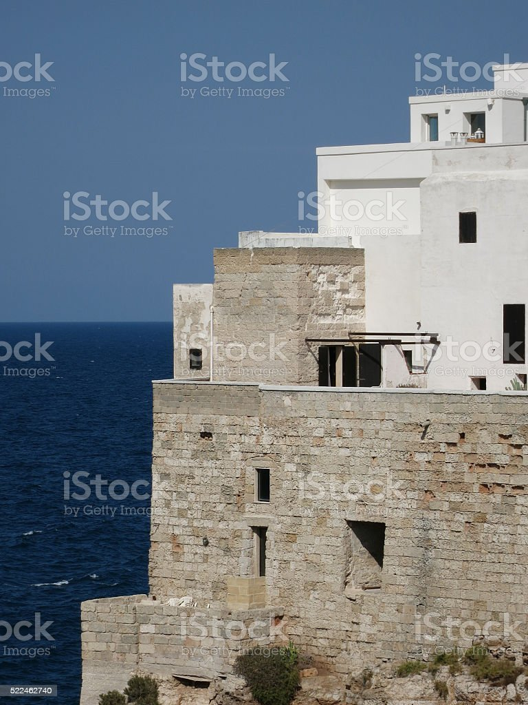 Old houses of Polignano a Mare, Italy stock photo